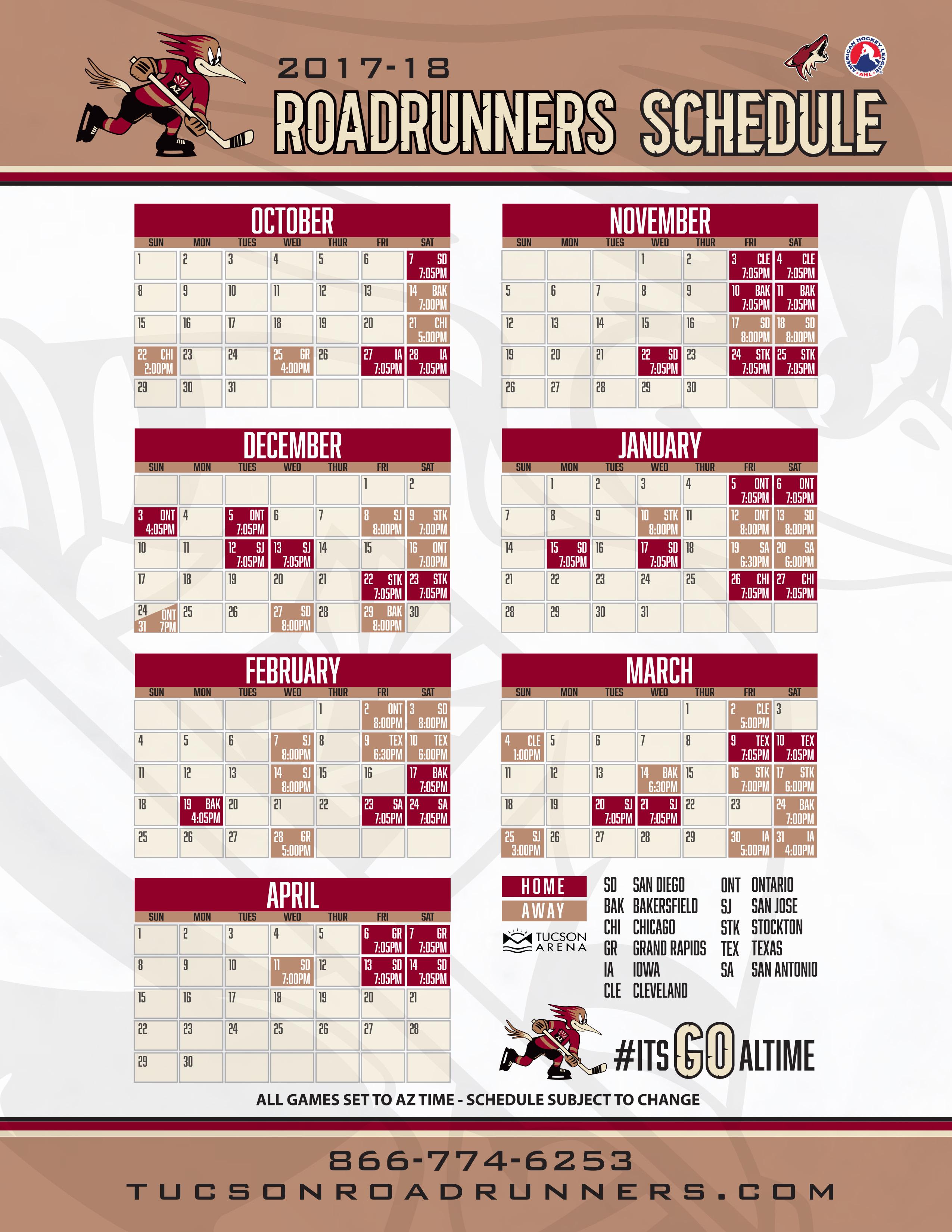 pdf schedule 2017-18 - tucson arena