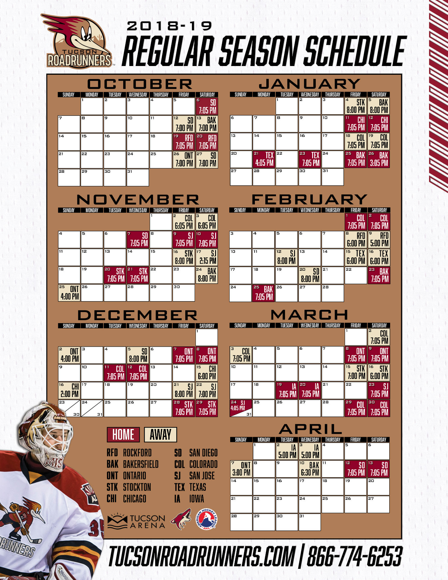 photo about Blackhawks Schedule Printable known as Tucson Roadrunners - Tucson Arena